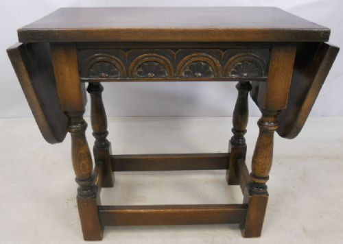 Antique Jacobean Style Small Dropleaf Oak Coffee Table